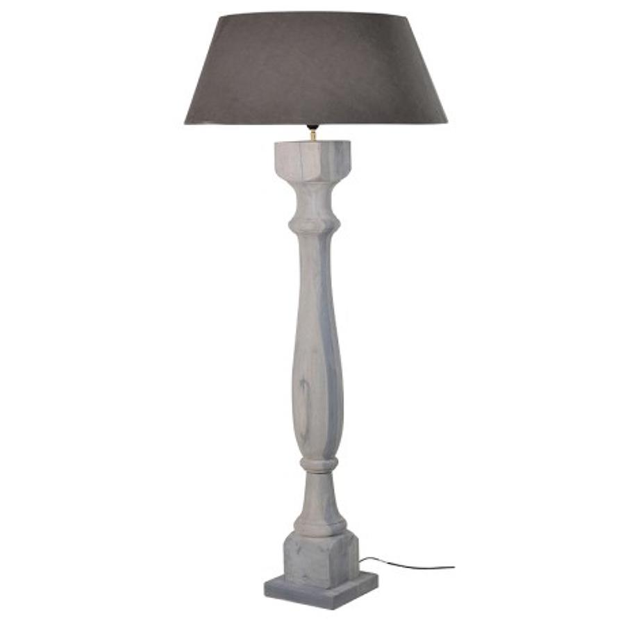 Wooden, grey washed floor lamp