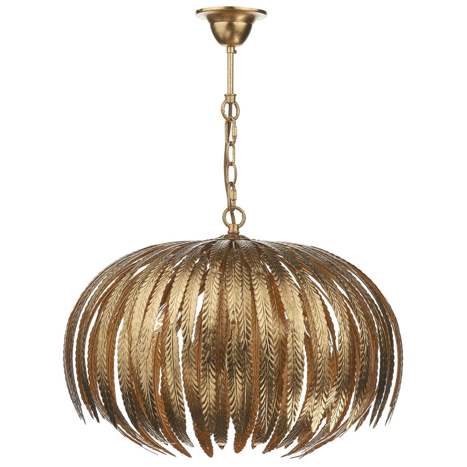 5 light pendant with hand applied gold leaf finish