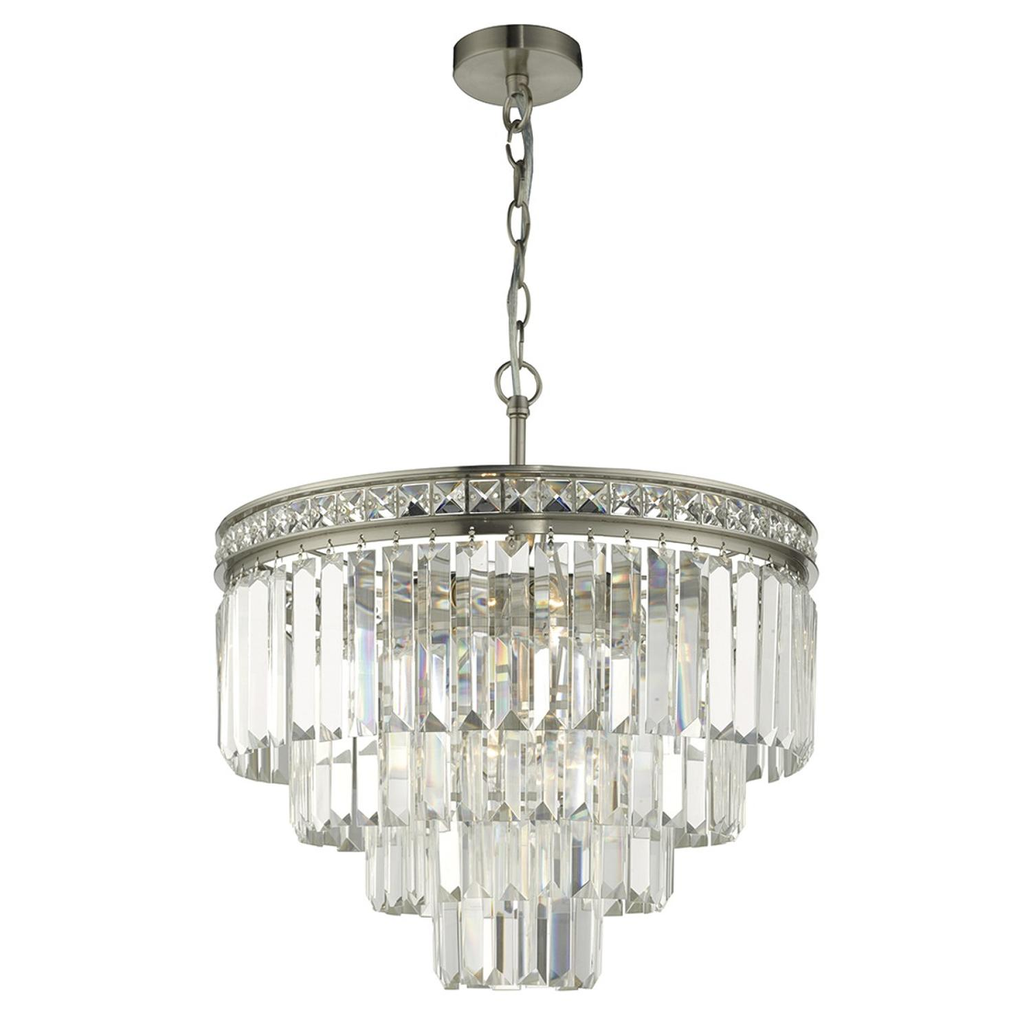 4 light pendant with brushed nickel frame & crystal tier drop skirt