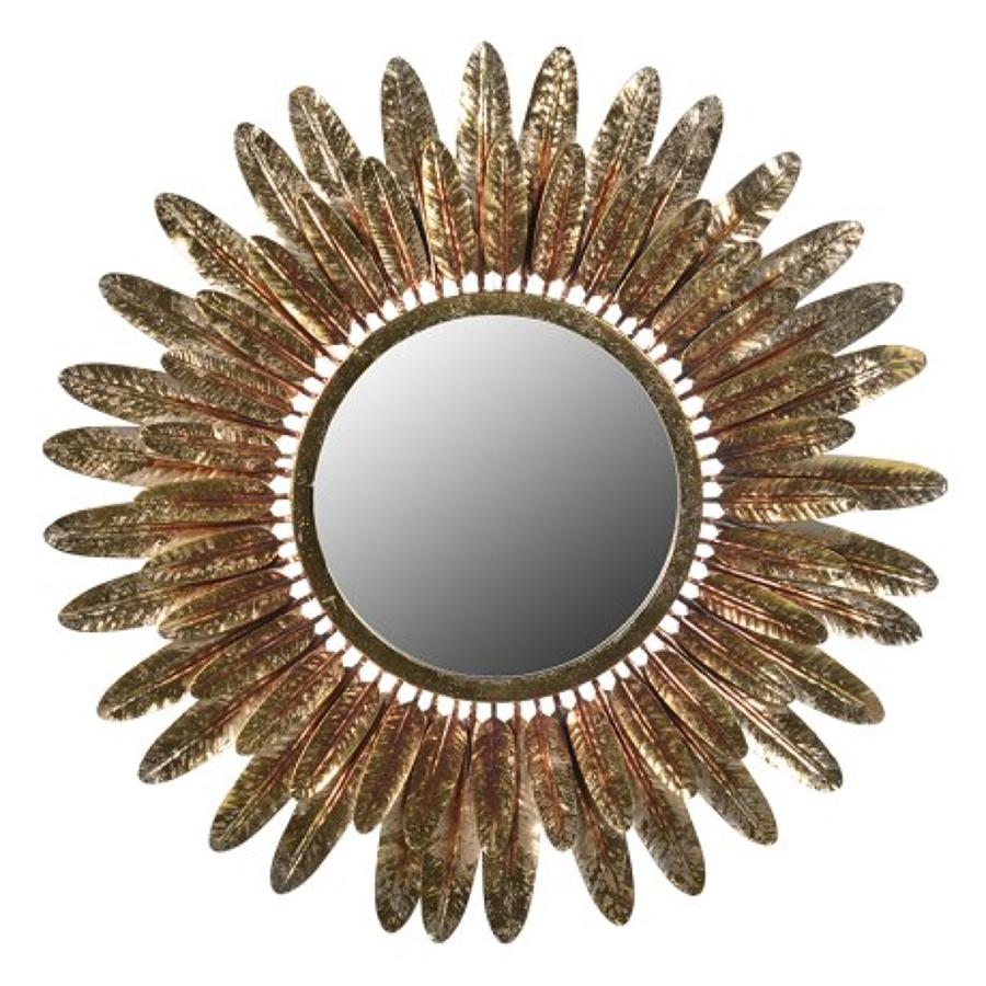 Gold Round Feather Mirror