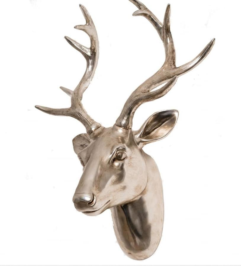 Champagne coloured wall mounted decorative stag head