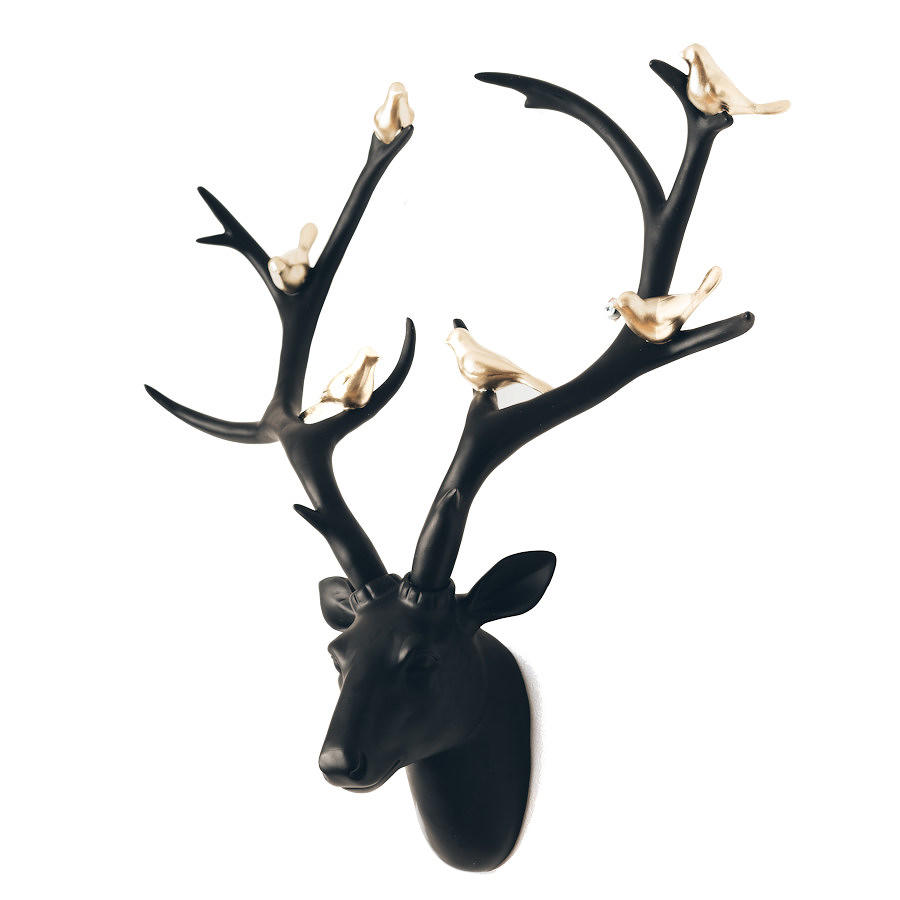 Large wall mounted decorative black deer head with gold coloured birds