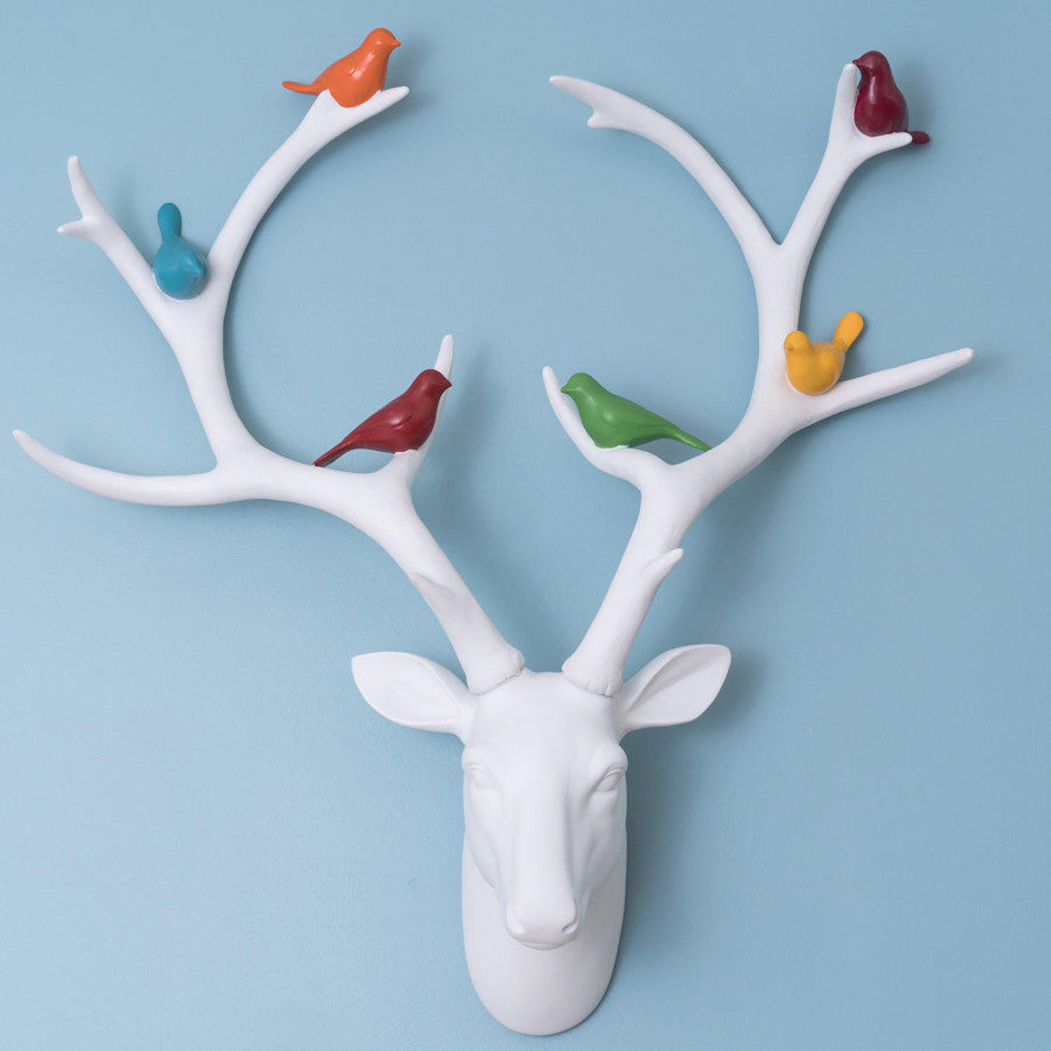 Large decorative wall mounted white deer head with multi' birds
