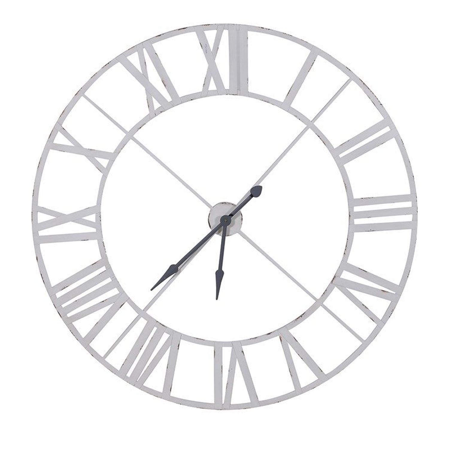 Distressed White Metal Outline Clock