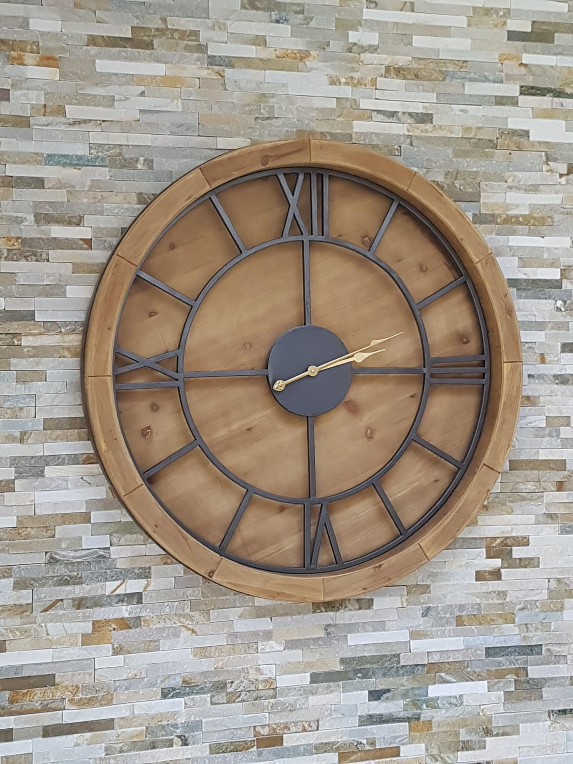 Large Wood And Metal Wall Clock