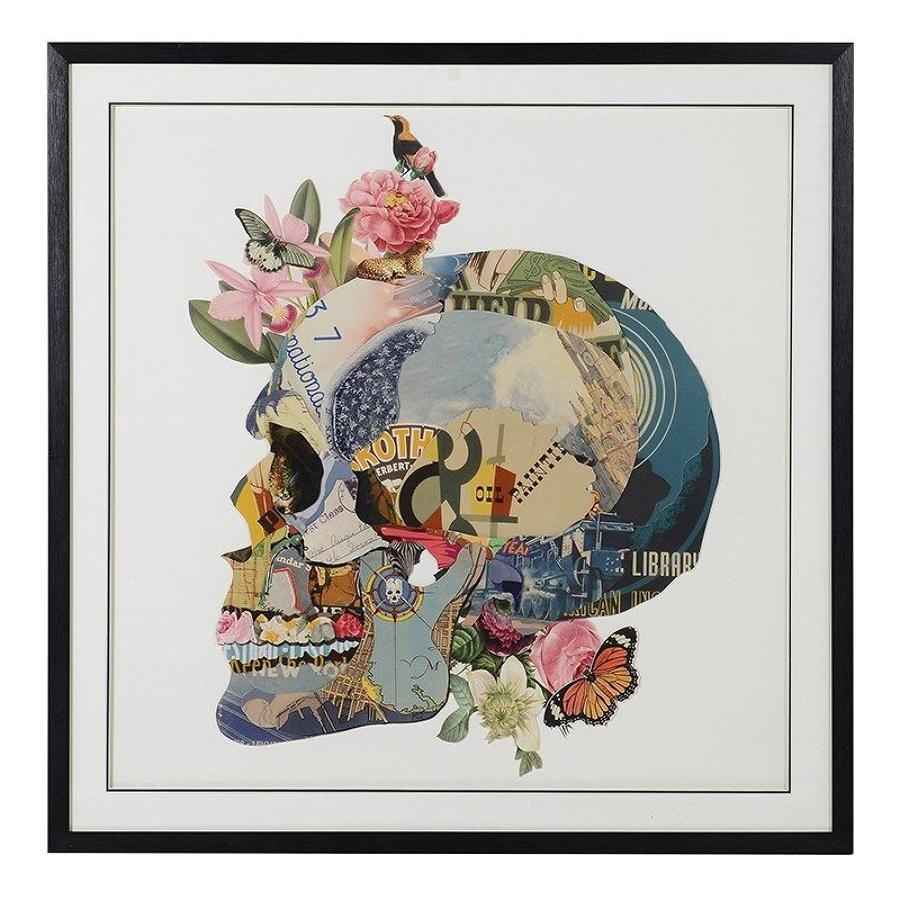 Multi Coloured Skull 3D Collage, Framed