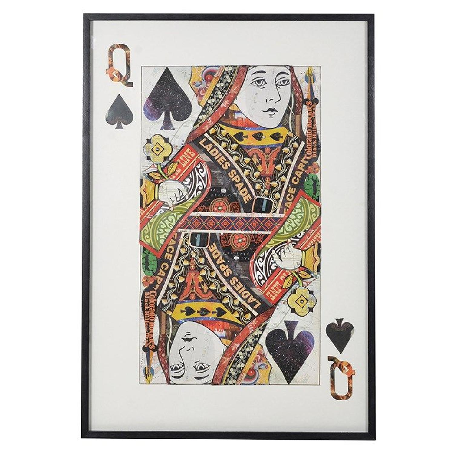 Large Queen of Spades Playing Card in Black Frame