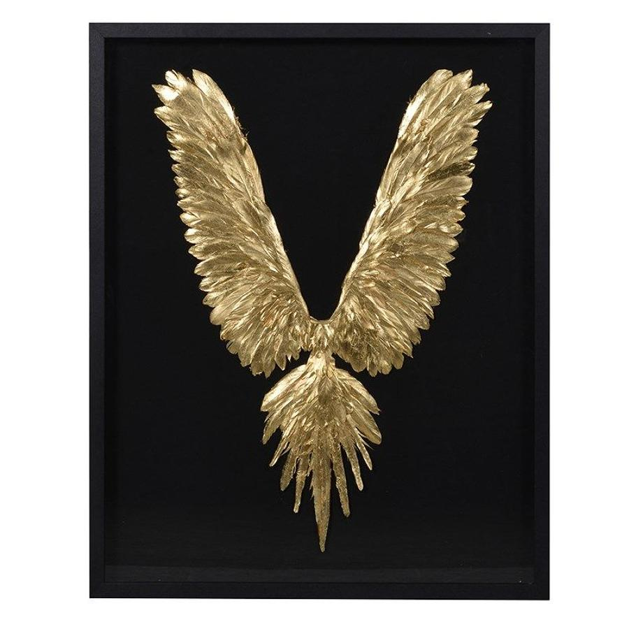 Large Black Frame Showcasing Gold Bird Feathers on Black Background