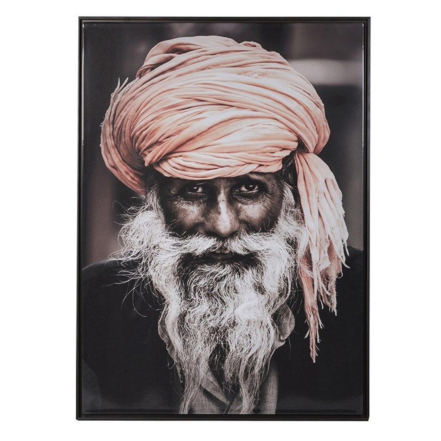 Oversized framed, gloss print of wise Indian man