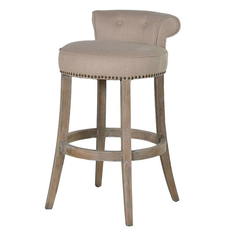 Linen studded bar stool with roll topped back