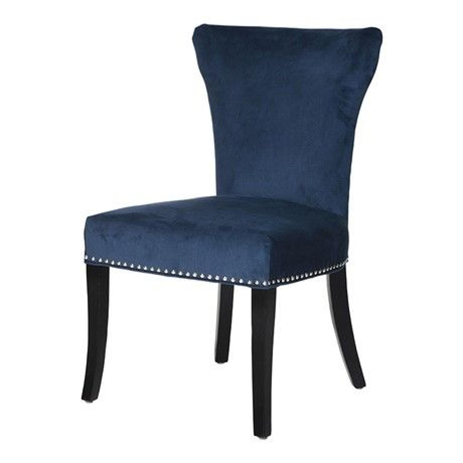 Blue velvet dining chair with feature silver studs.