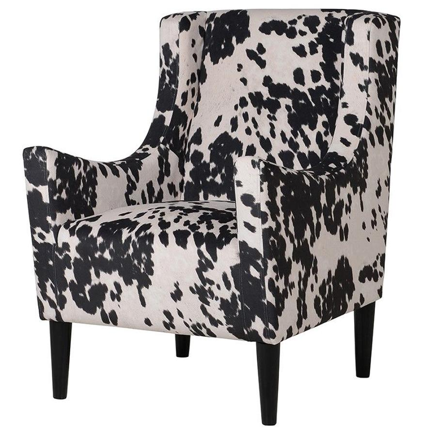 Stunning faux cow hide, wing back chair