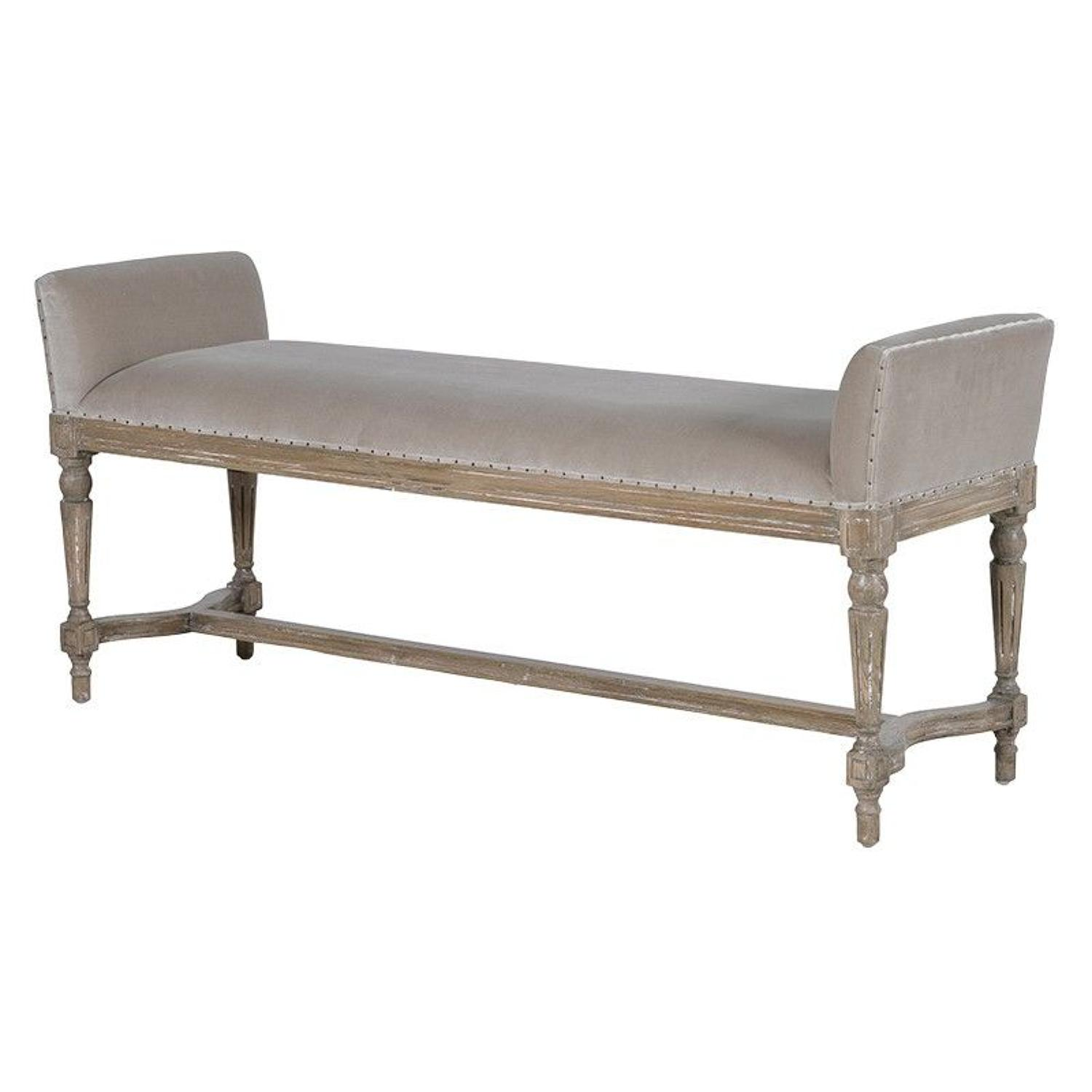 Distressed, velvet day bench with feature stud detail