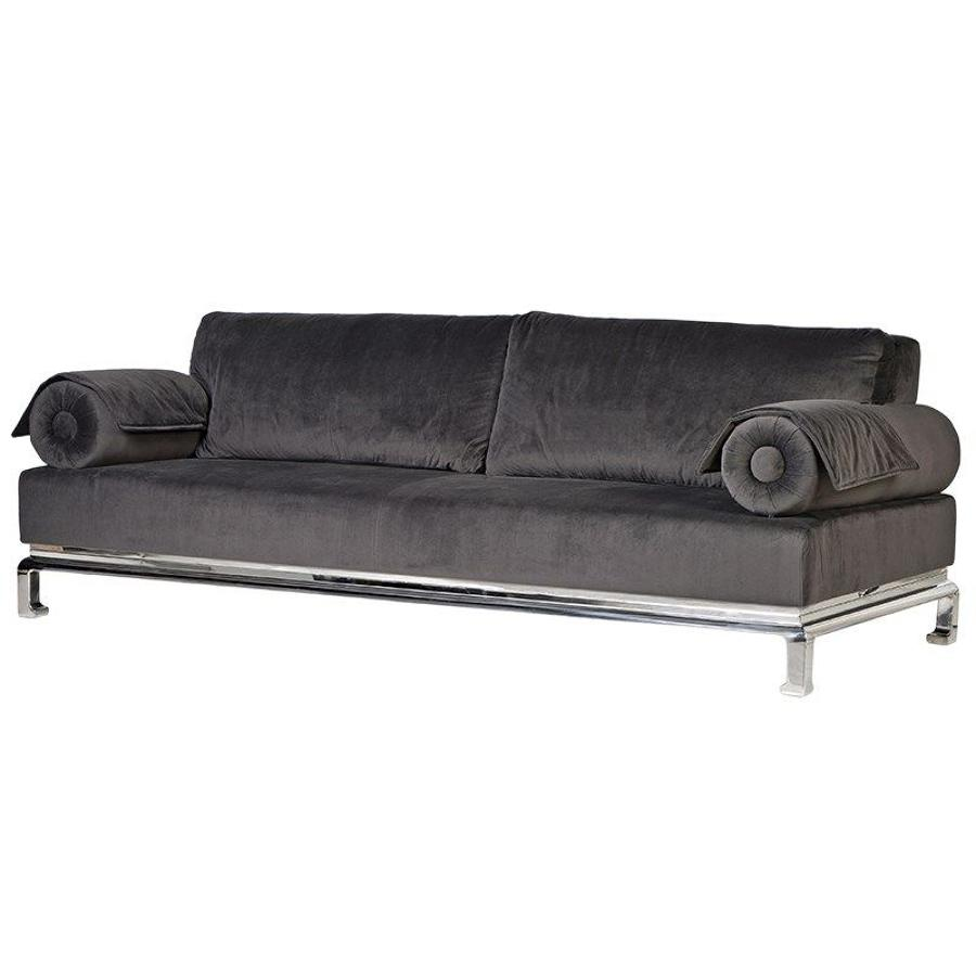 Floating arms grey sofa