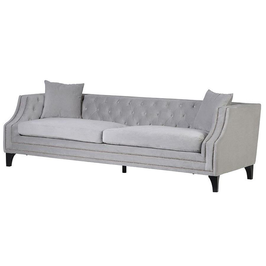 Grey sofa with studded detail