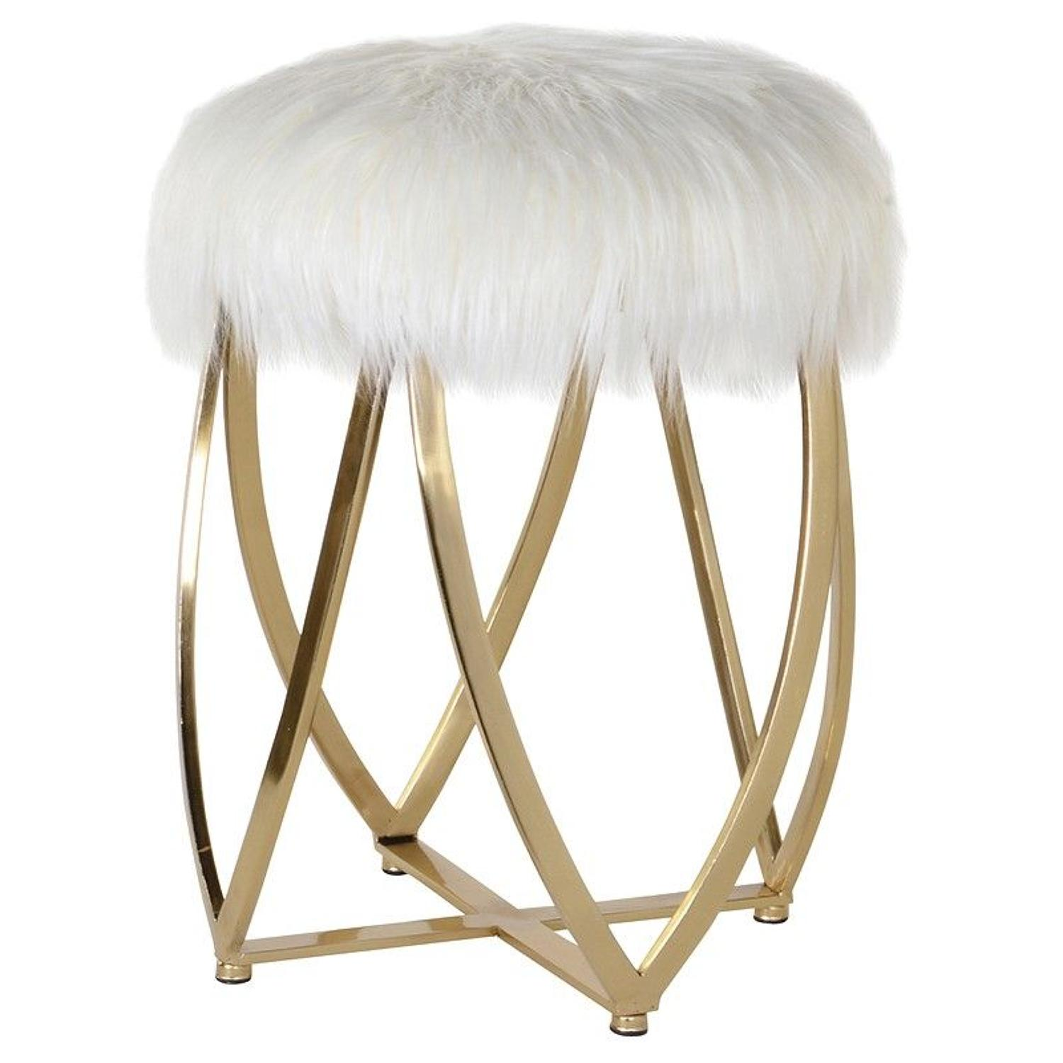 Gold framed fur seated stool