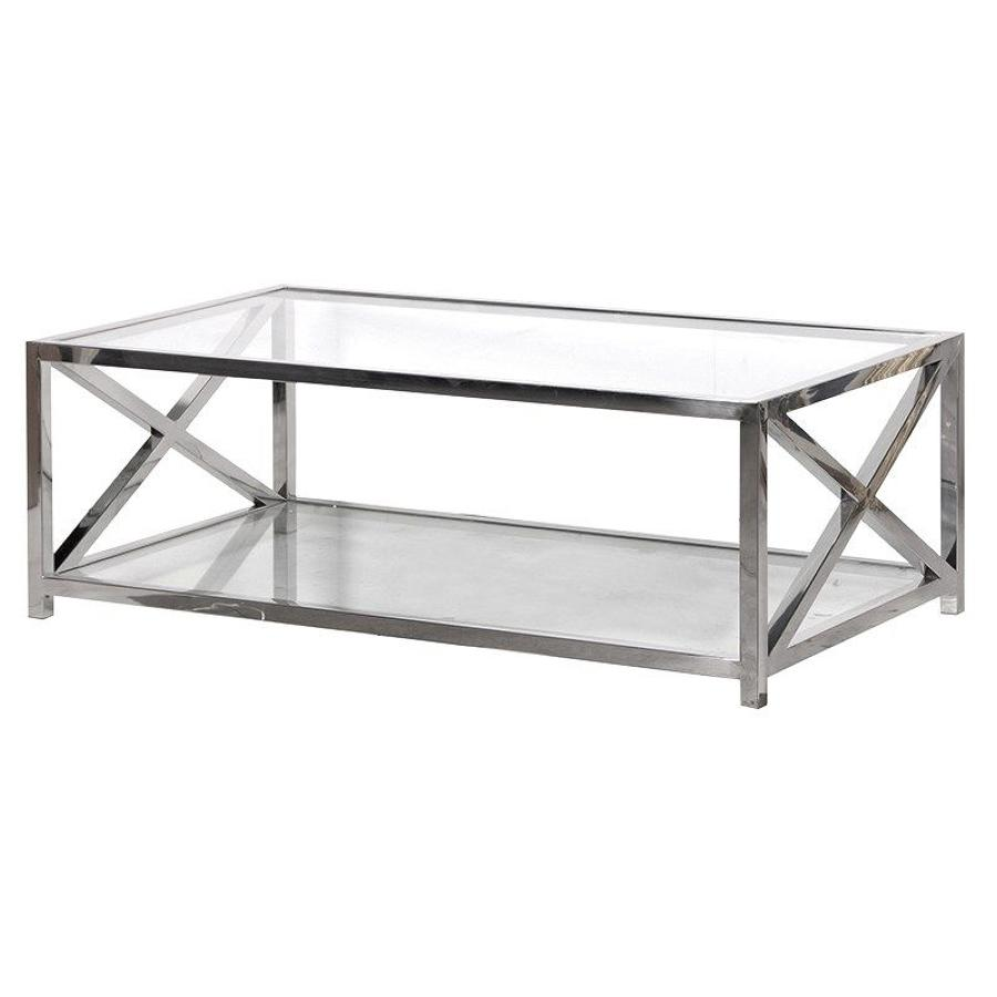 Stainless Steel X Frame Coffee Table