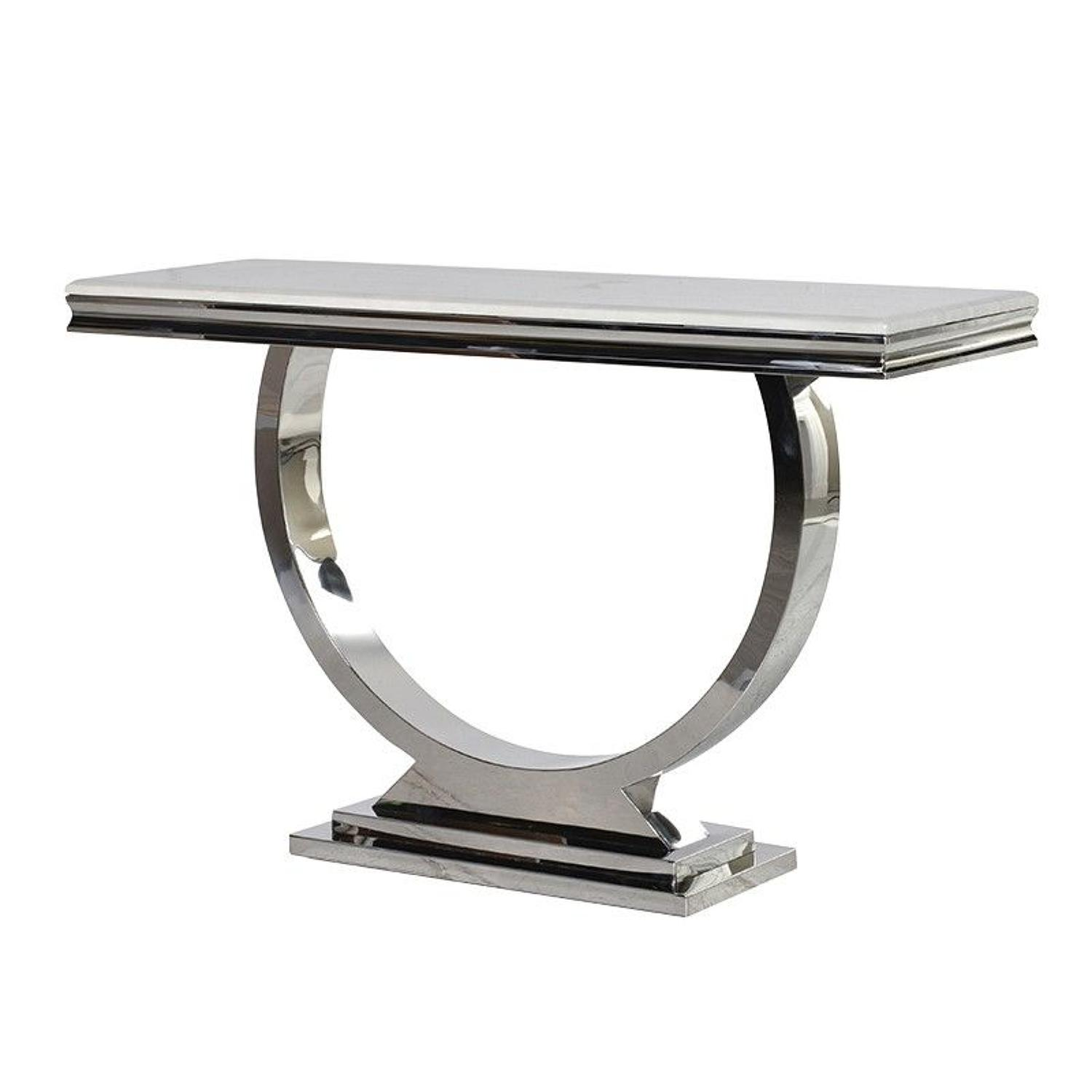 Metal console table with composite marble top
