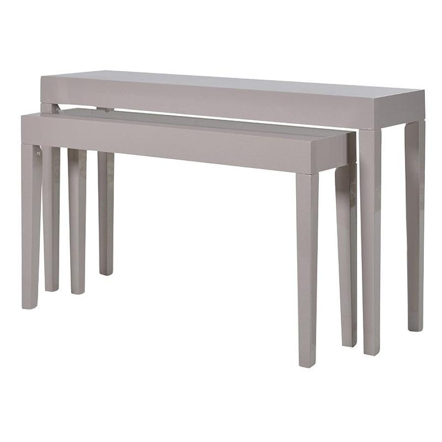 High gloss two set console tables