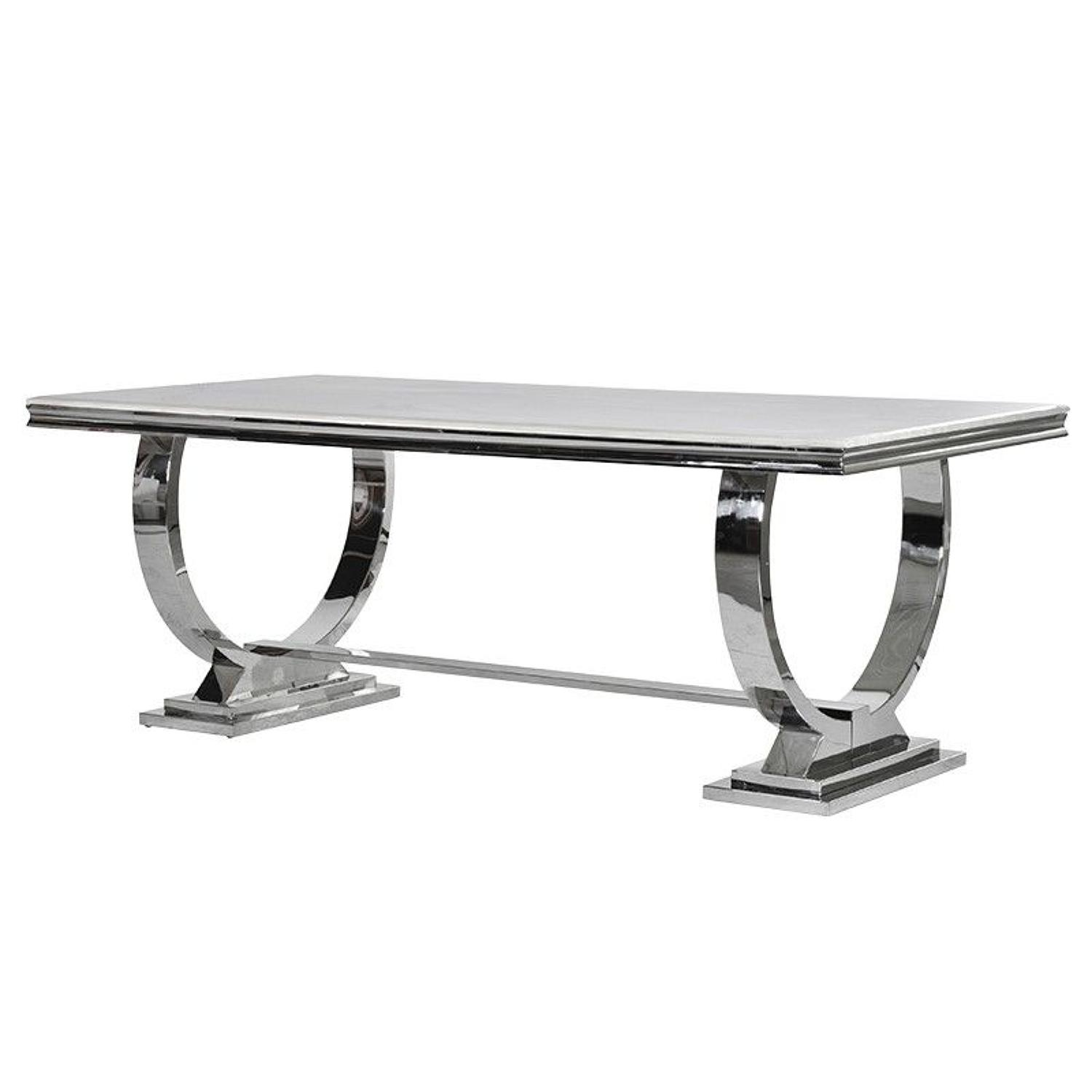 Steel, circular framed dining table with composite marble top