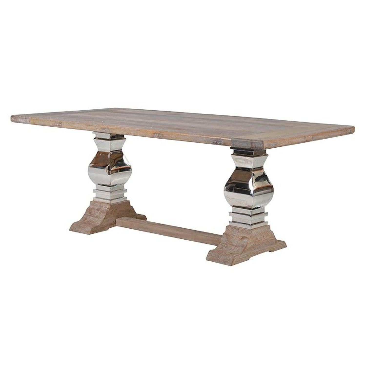 Elm wood and stainless steel table