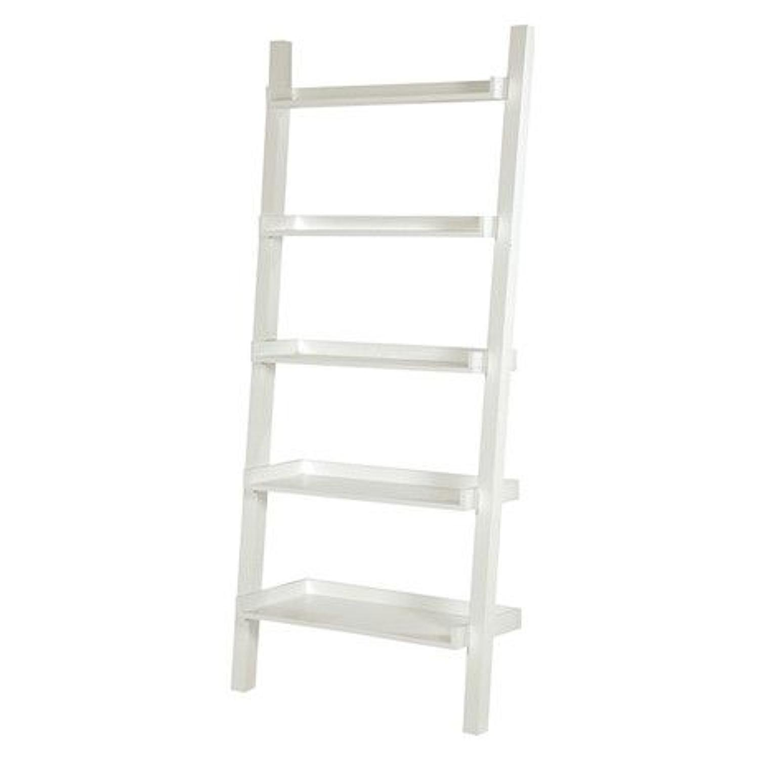 White ladder style shelving unit