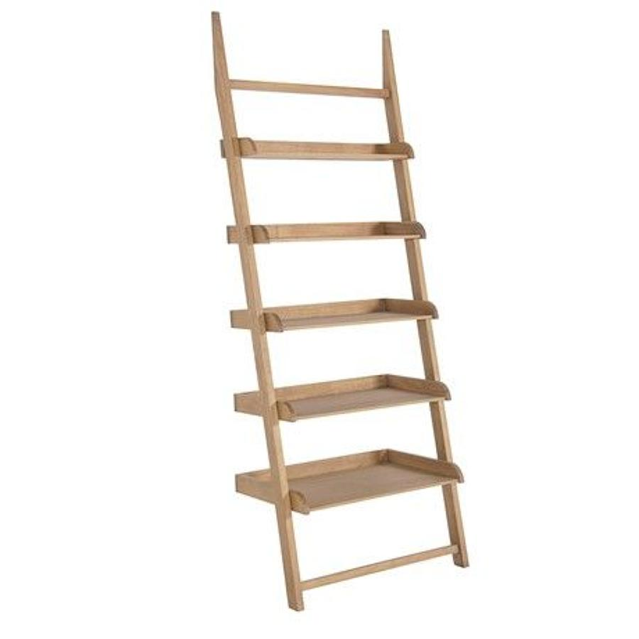 Weathered oak ladder style shelving unit