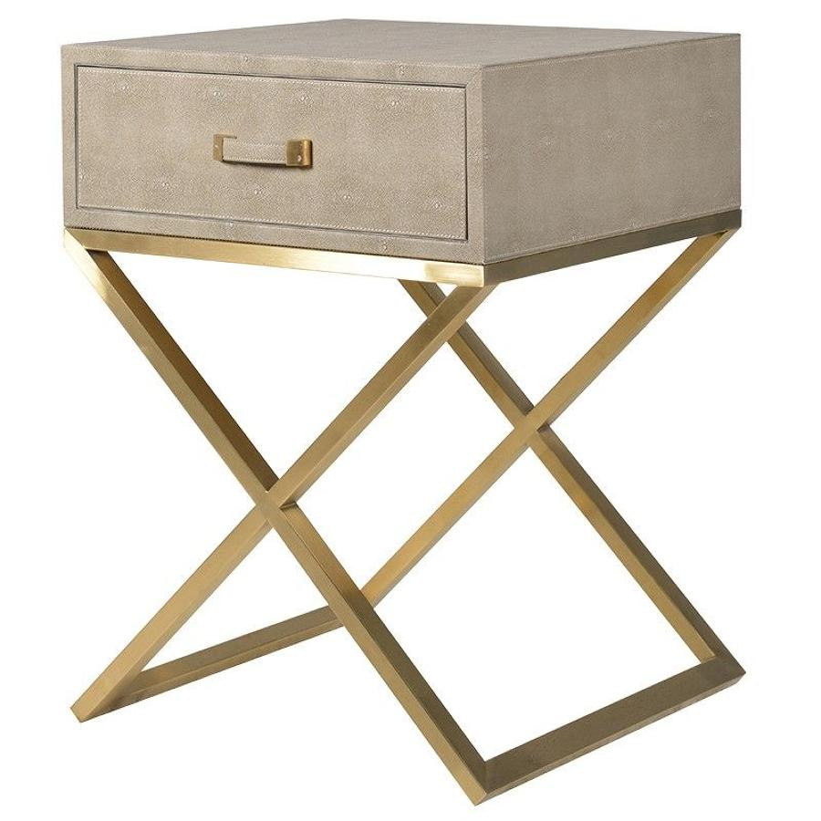 Faux Leather Shagreen Side Table with Drawer