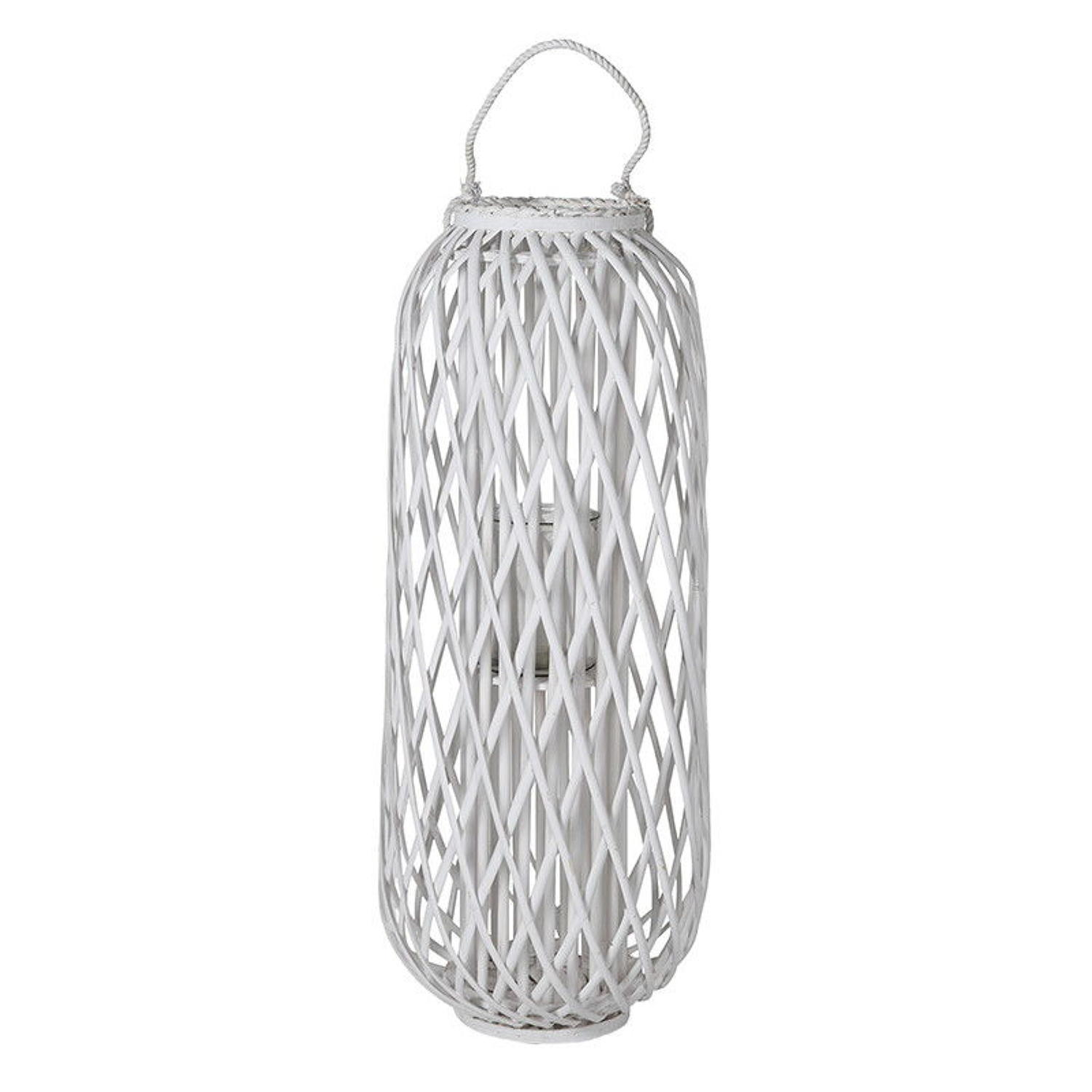 Large willow hurricane candle lantern in white
