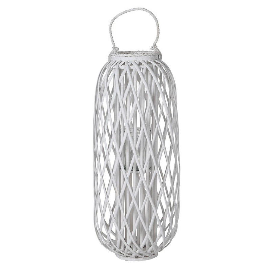 Small willow hurricane candle lantern in white