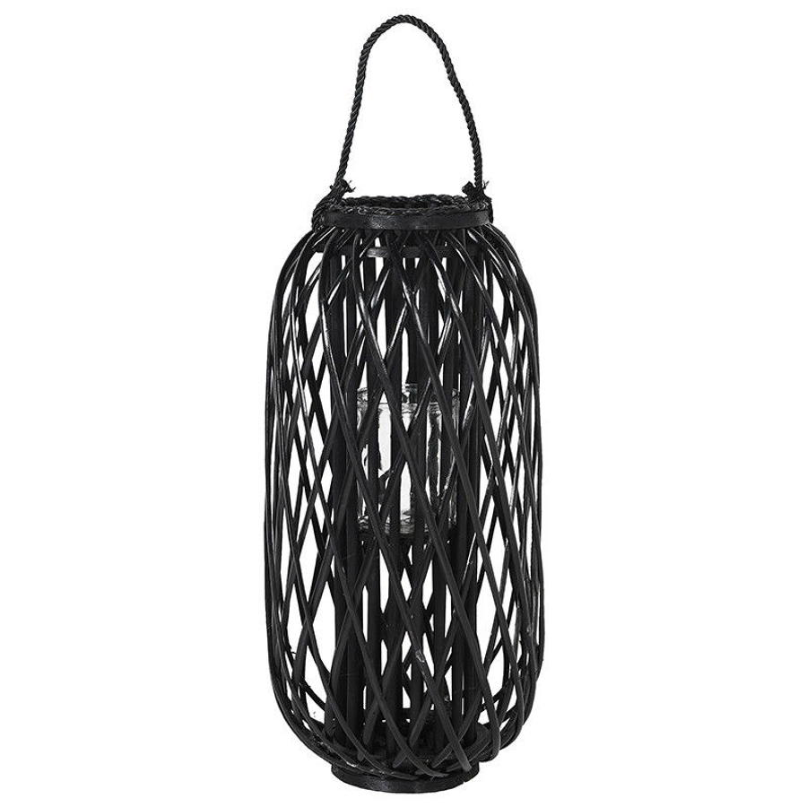 Black willow hurricane candle lantern