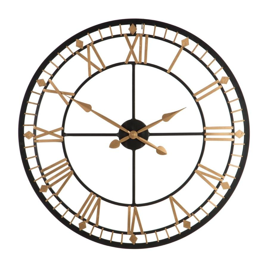 Black and gold skeleton wall clock
