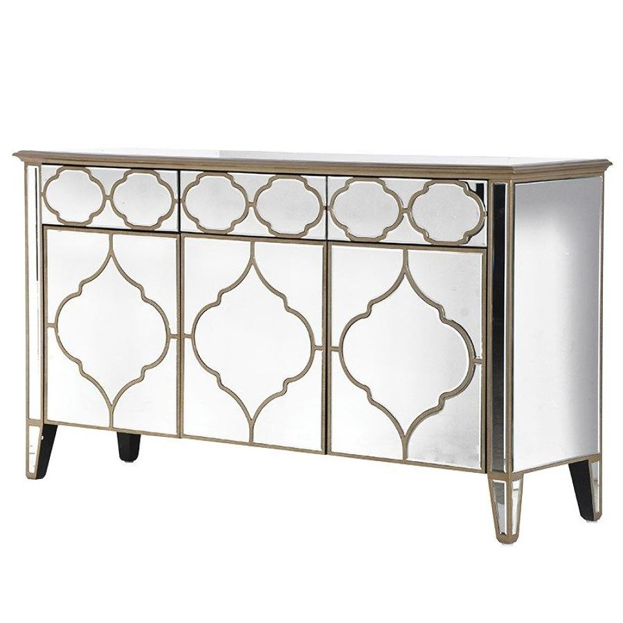 Moroccan mirrored 3 door sideboard