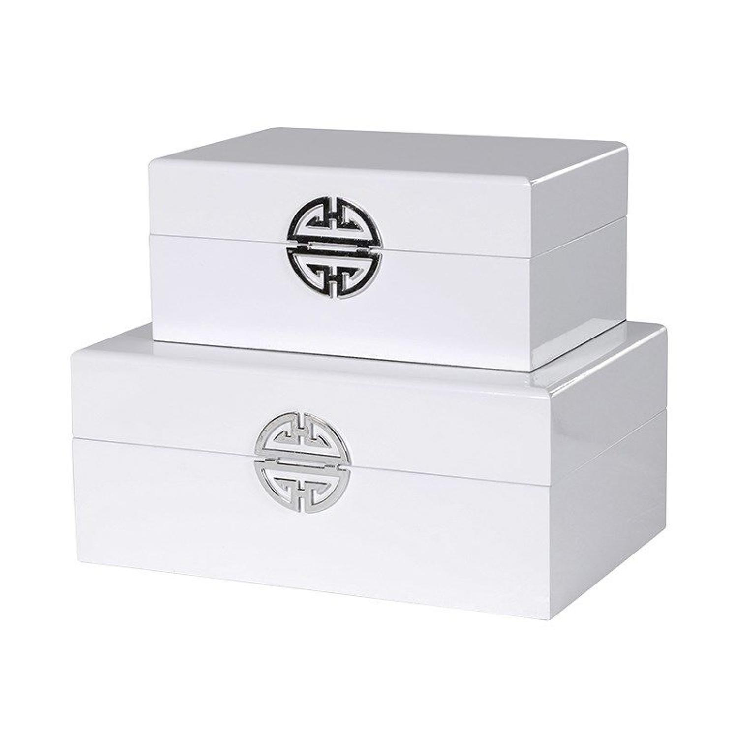 Pair of white high gloss, wooden boxes with silver detailing