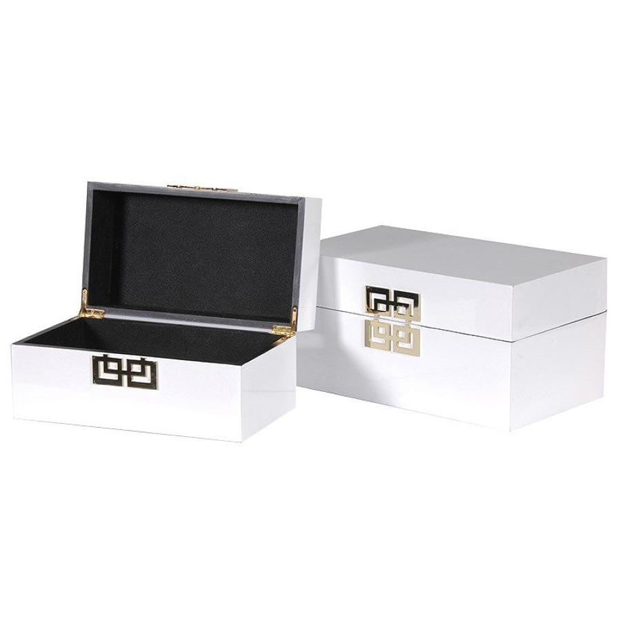 Decorative set of two white wooden boxes with gold coloured detailing