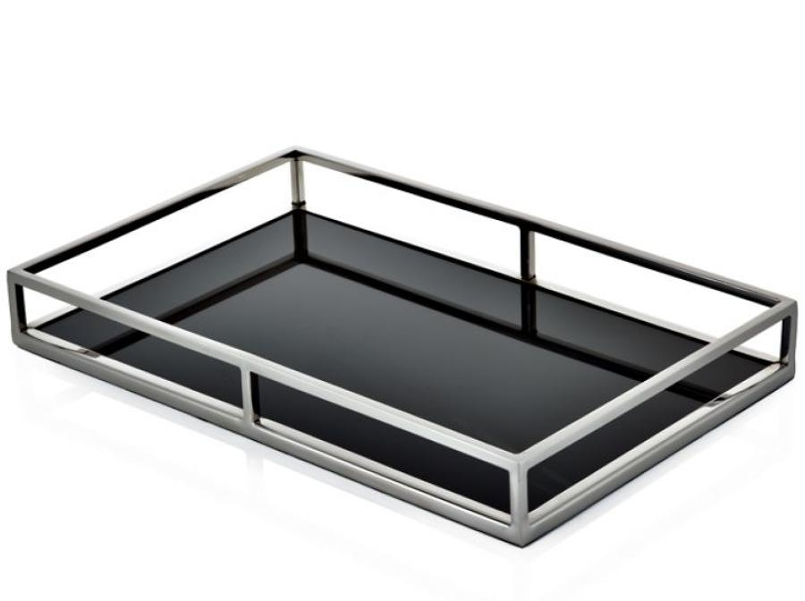 Stainless steel and black glass gin tray (medium)