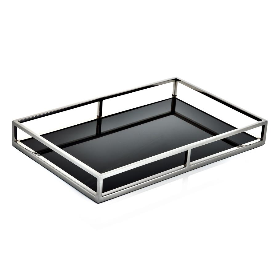 Stainless steel and black glass gin tray (small)