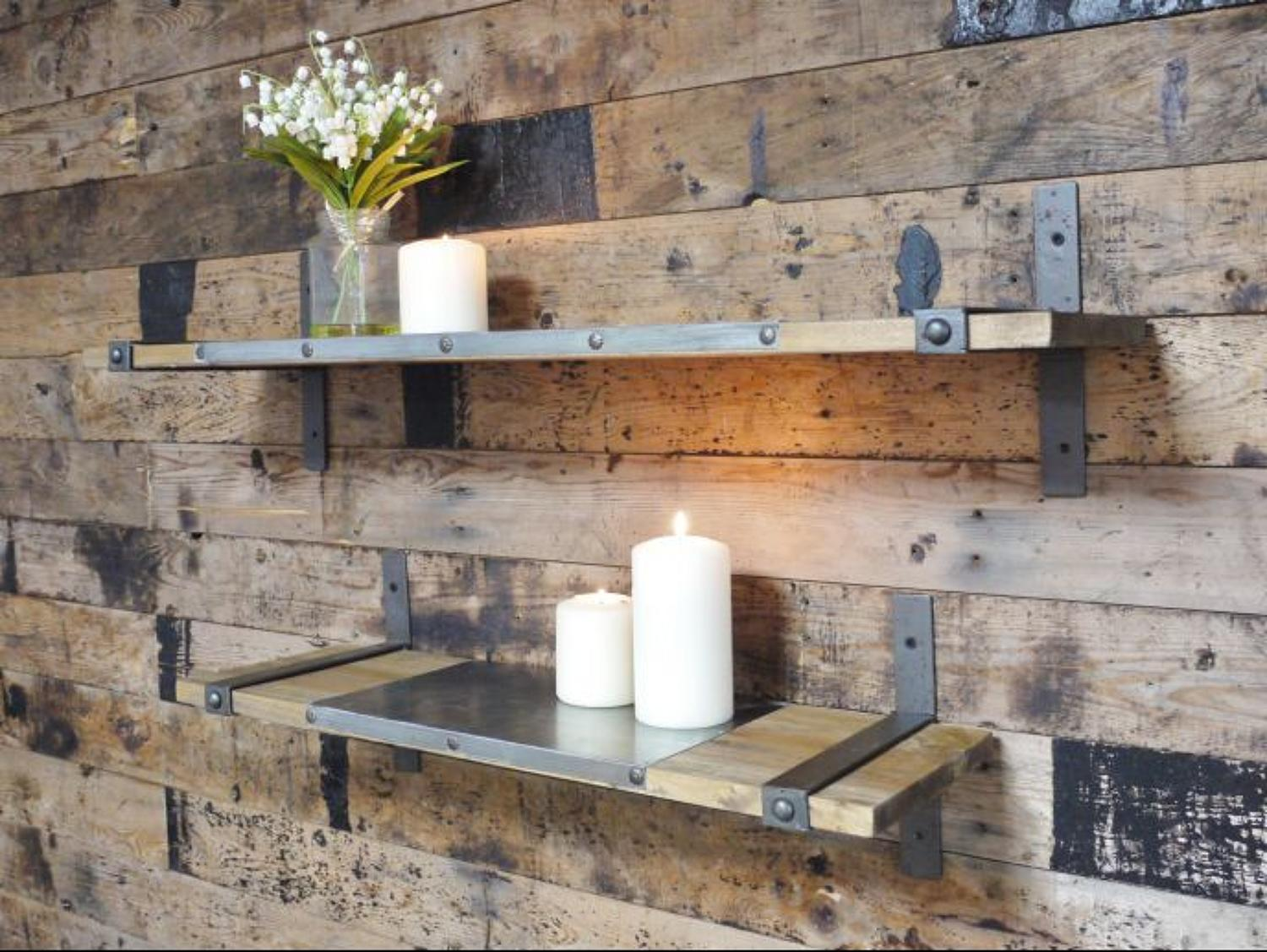 Set of two industrial shelves – metal and wood