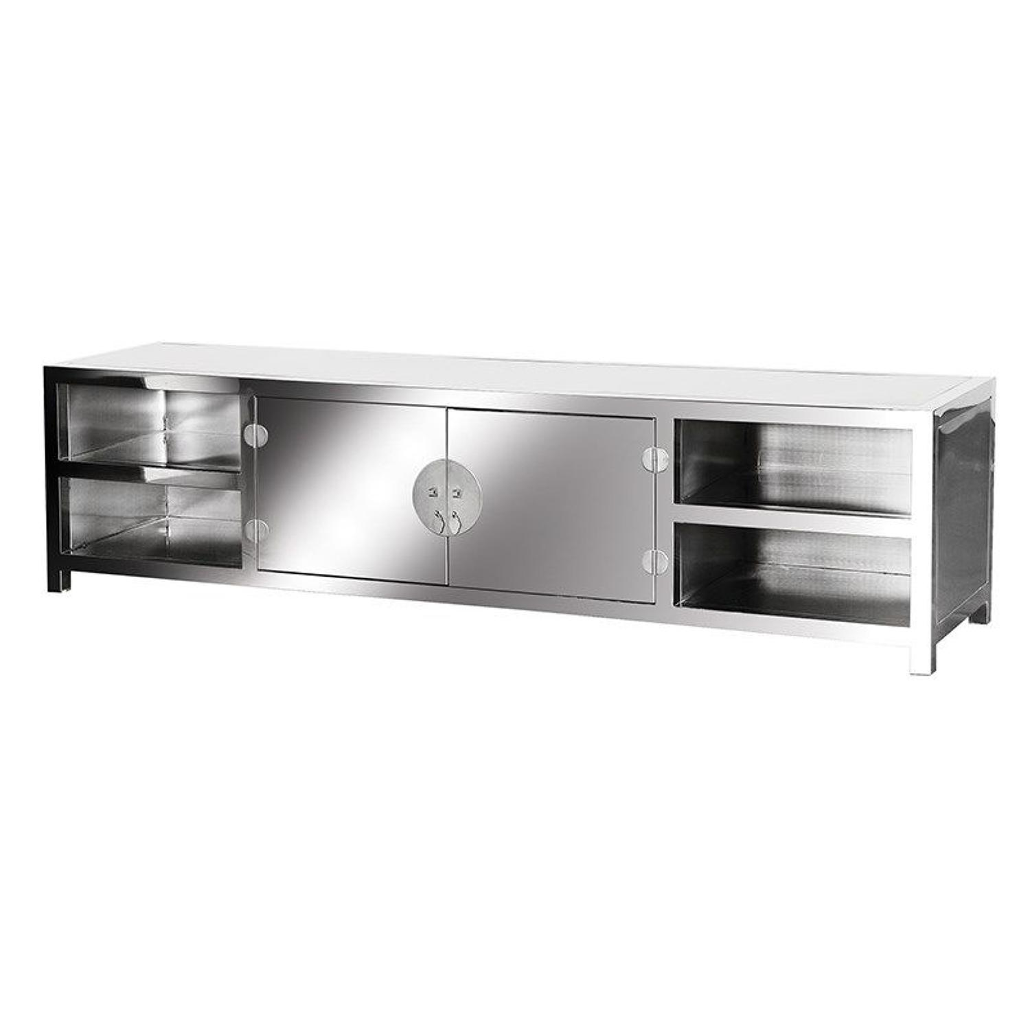 Stainless steel TV unit – highly polished
