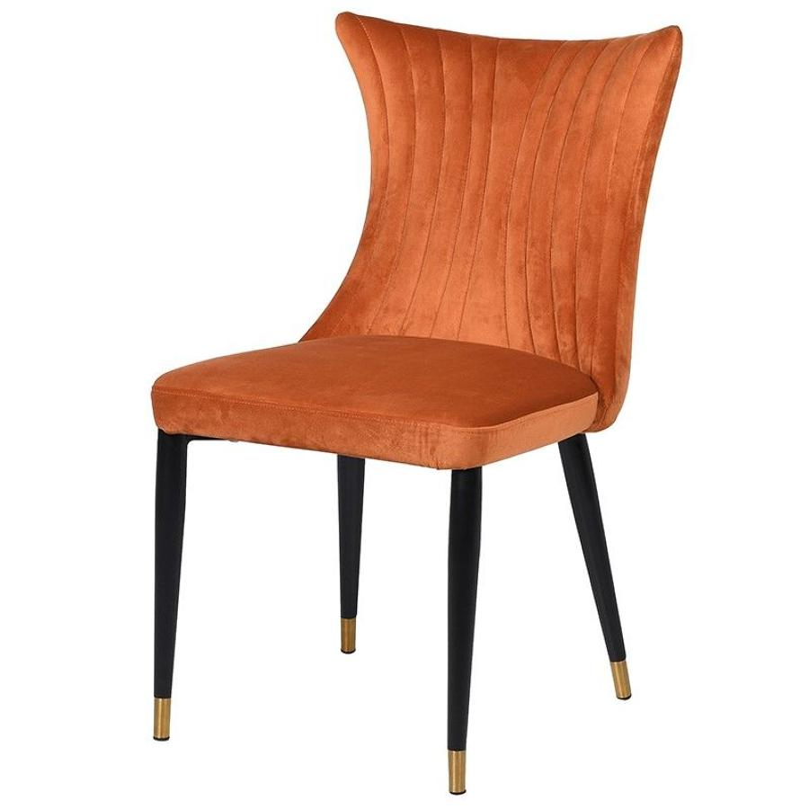 Rust curved back dining chair