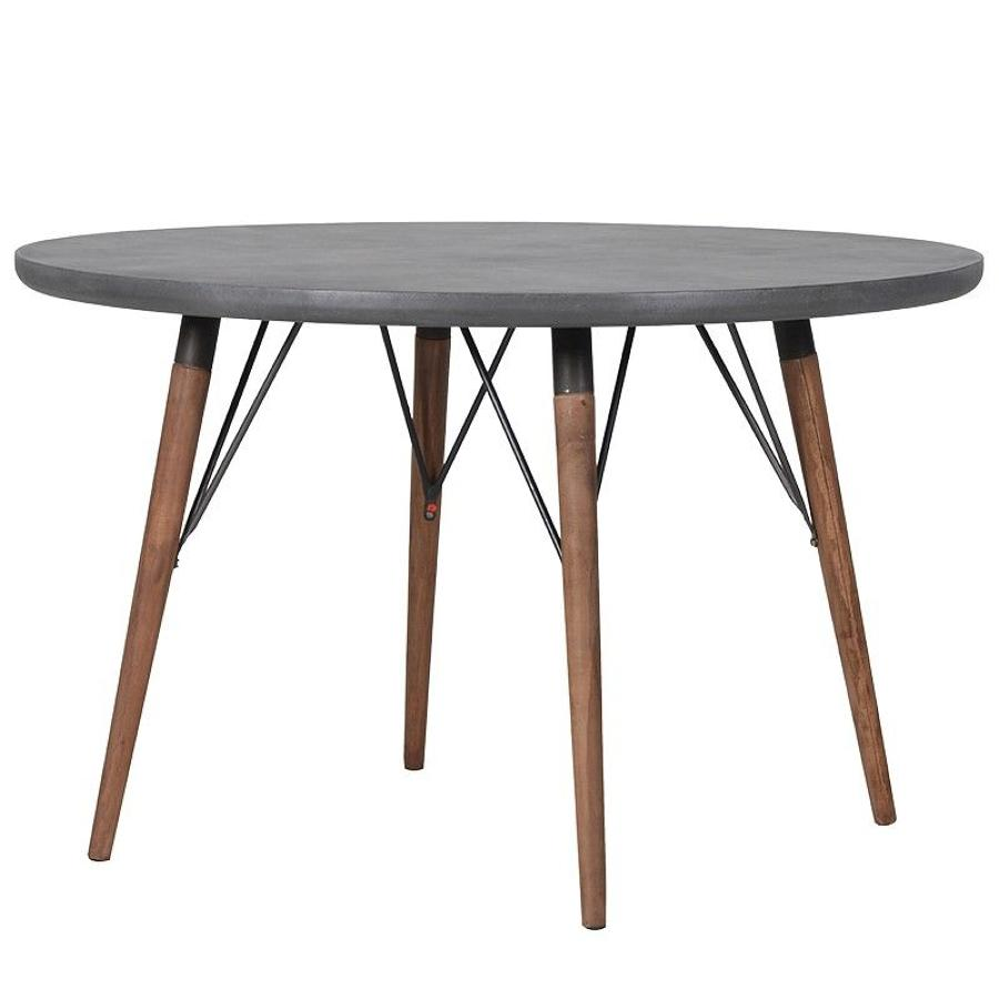 Circular dining table with faux concrete top