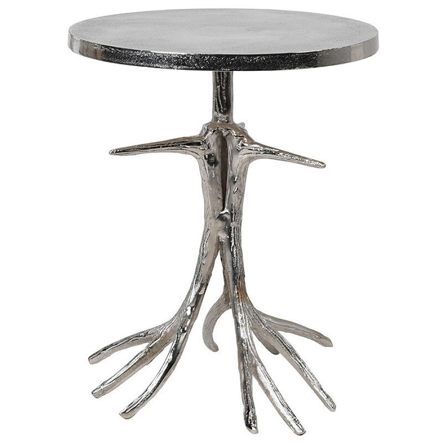 Pitted metal table with antler base