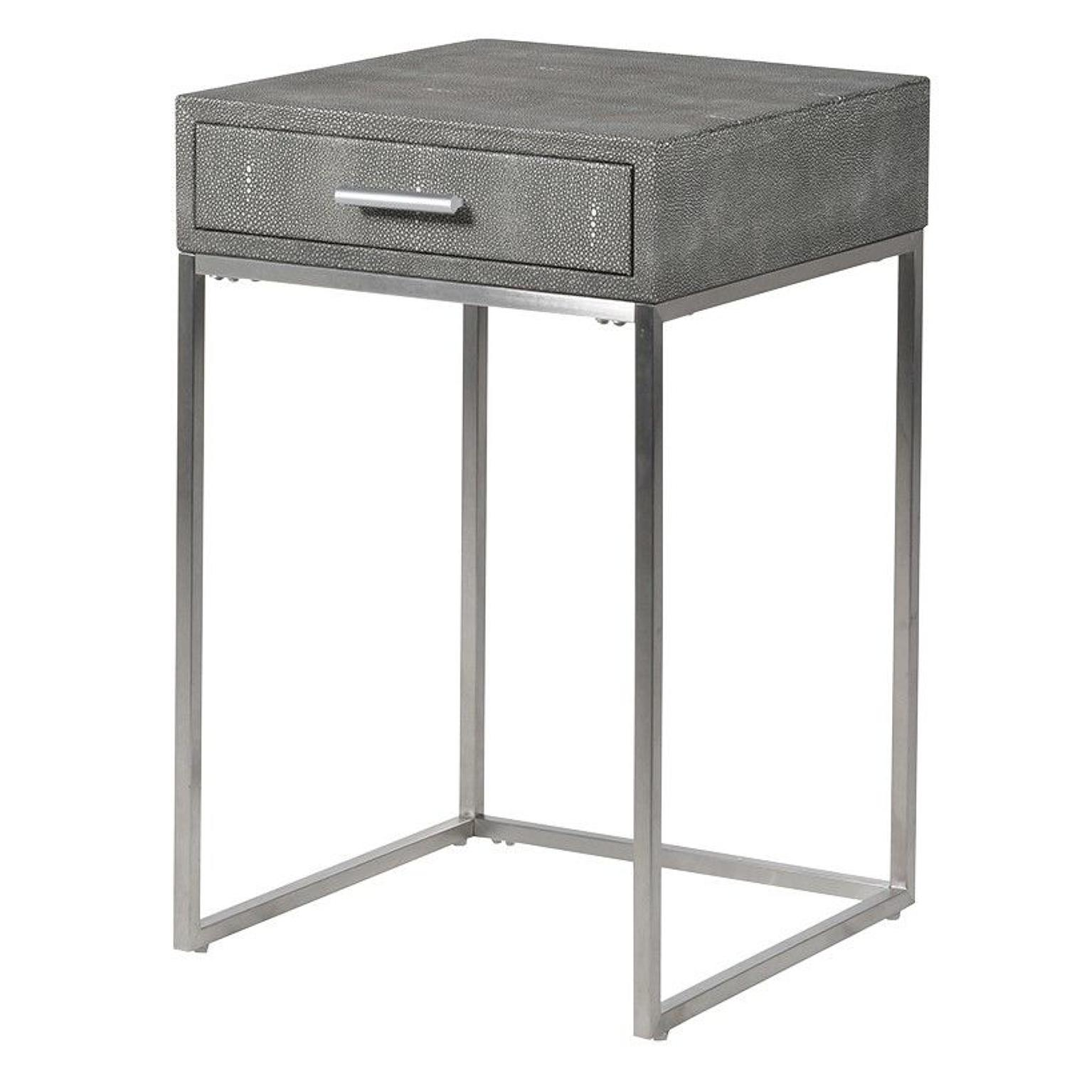 Faux shagreen leather side table with drawer