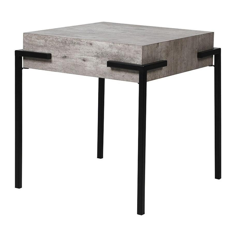 Faux concrete side table with black legs