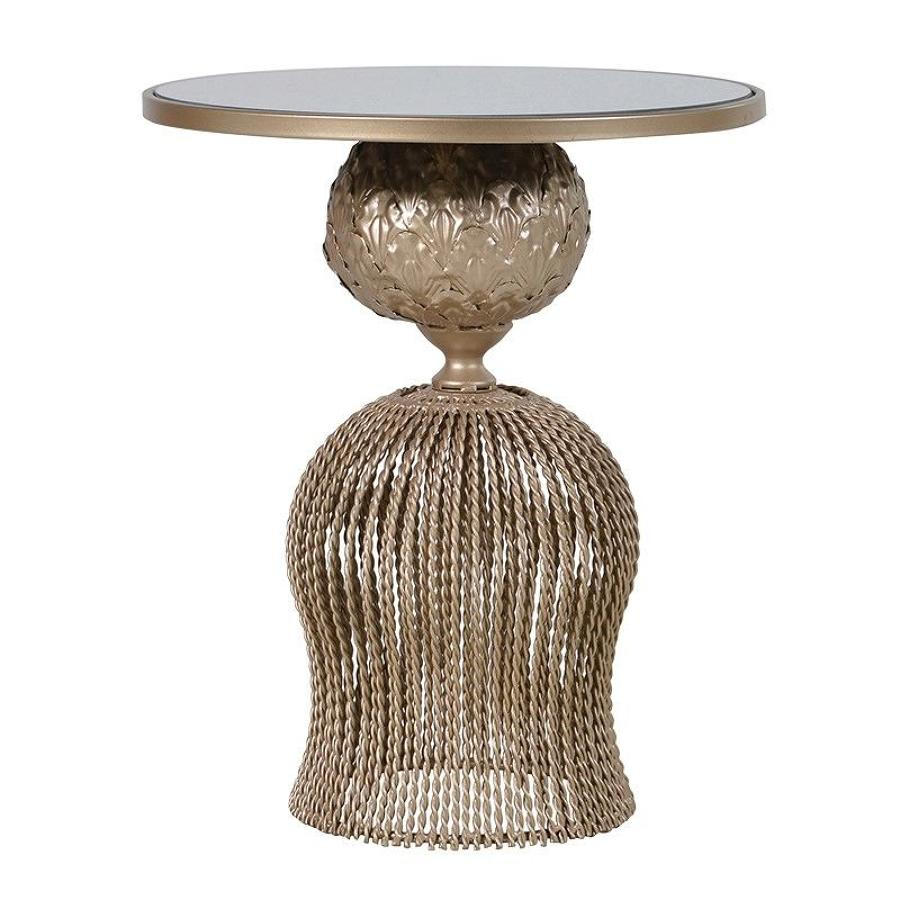Twist metal table with mirrored top