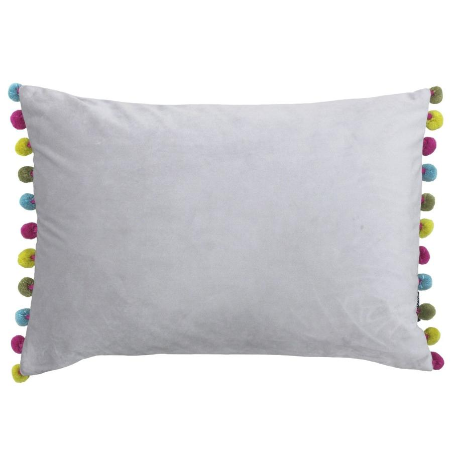 Carnival pompom velvet cushion – Grey\Multi