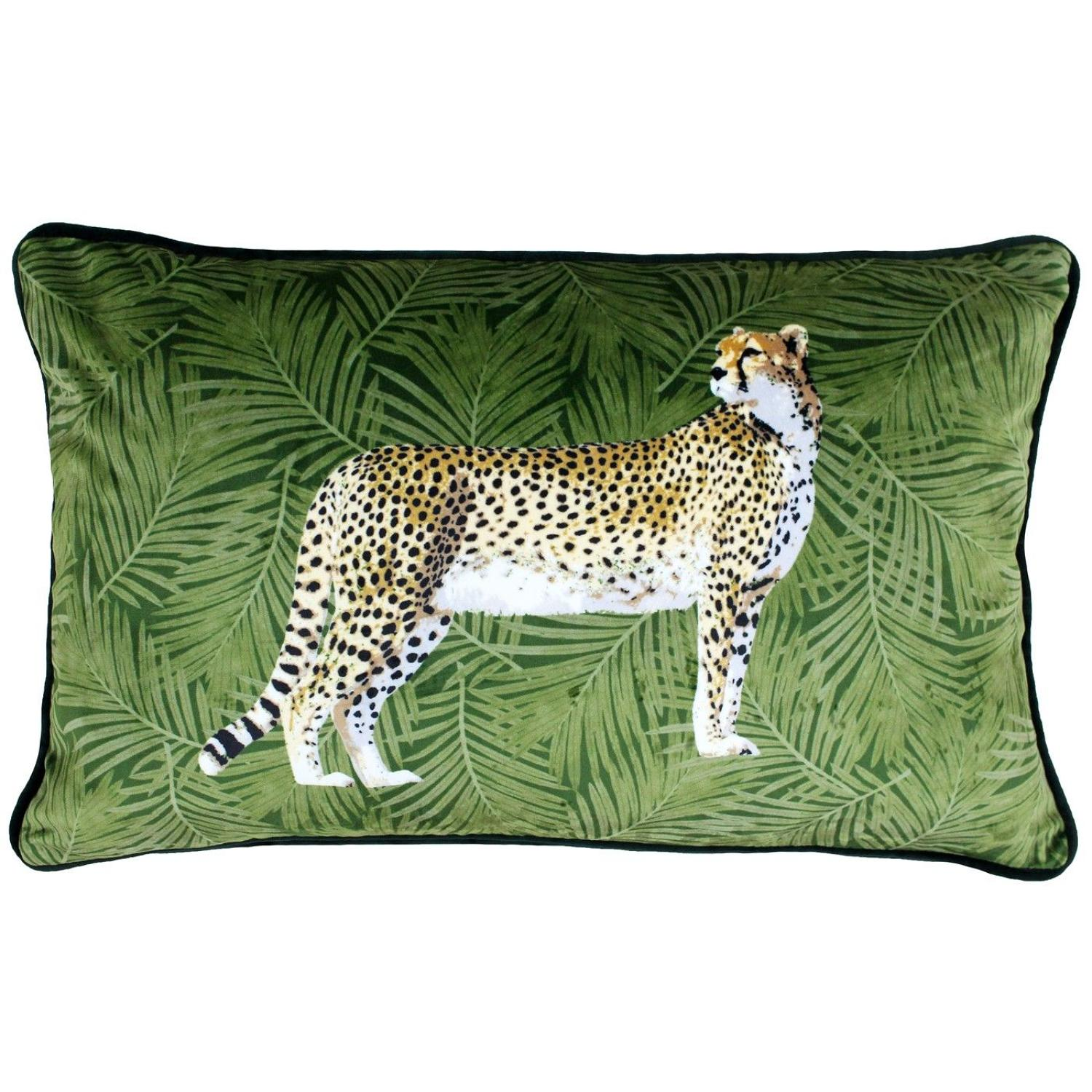 Velvet soft cheetah cushion - feather inner