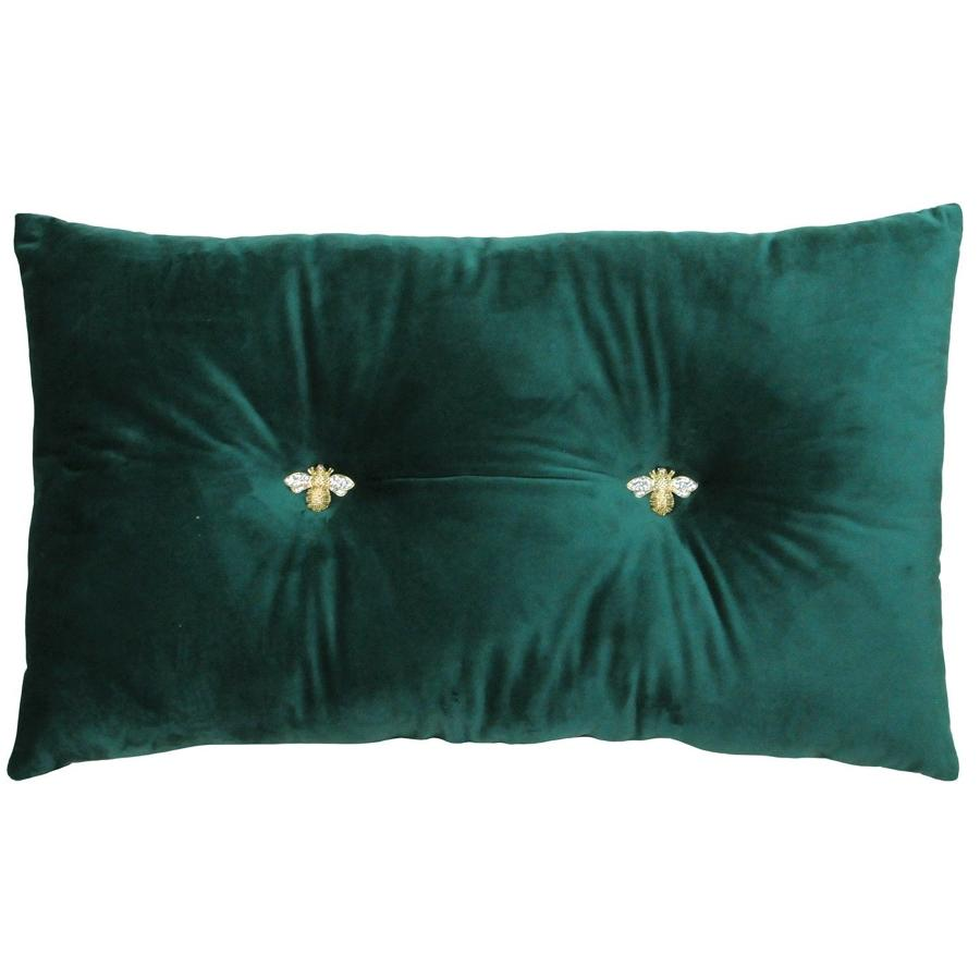 Queen Bee Forest - Velvet soft oblong cushion with jewelled bees
