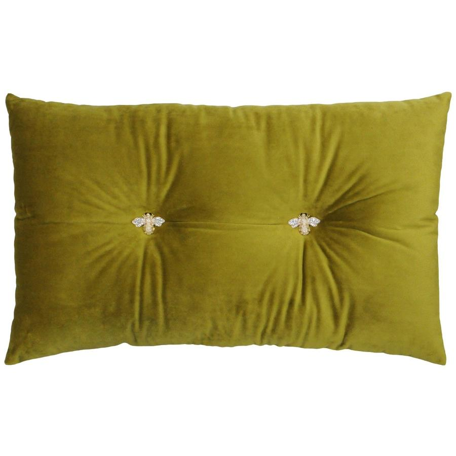 Queen Bee Mustard - Velvet soft oblong cushion with jewelled bees