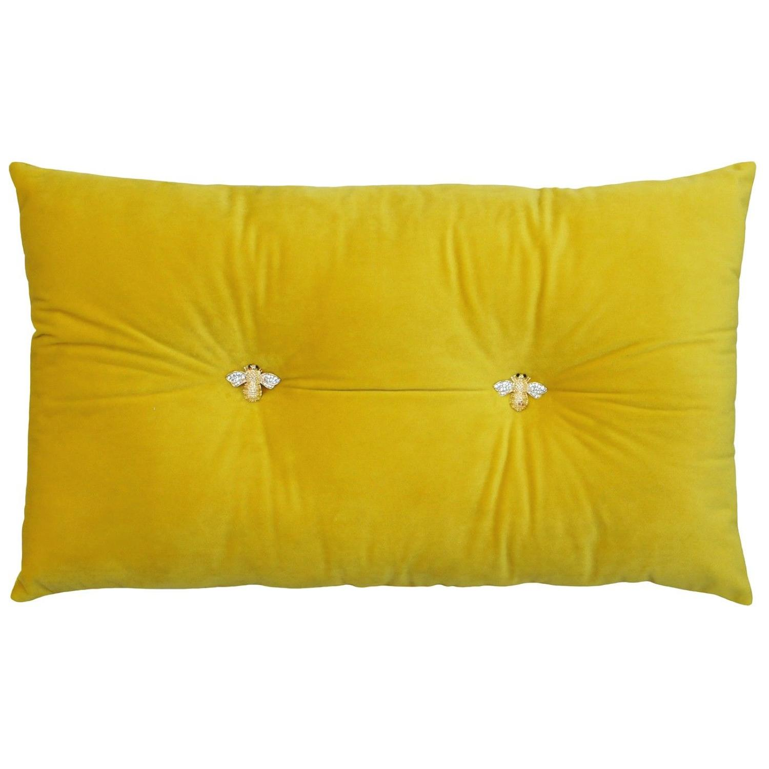 Queen Bee Safron- Velvet soft oblong cushion with jewelled bees